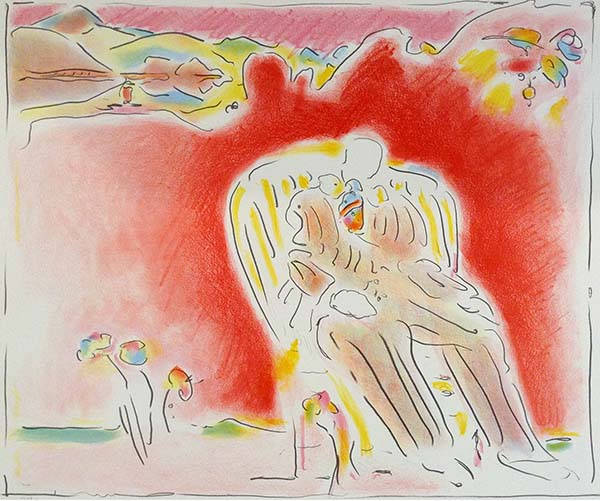 Peter Max - The Gardenprint of man sitting in yellow chair with pinkish red background and flowers