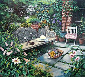 Susan Rios - The Gardener (37x38 serigraph on paper)