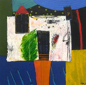 Mamie Joe Rayburn Abstract Geometric Oil Painting on Paper of House and Tree