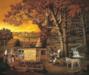 Charles Wysocki - The Memory Maker print of traveling photographer with his wagon