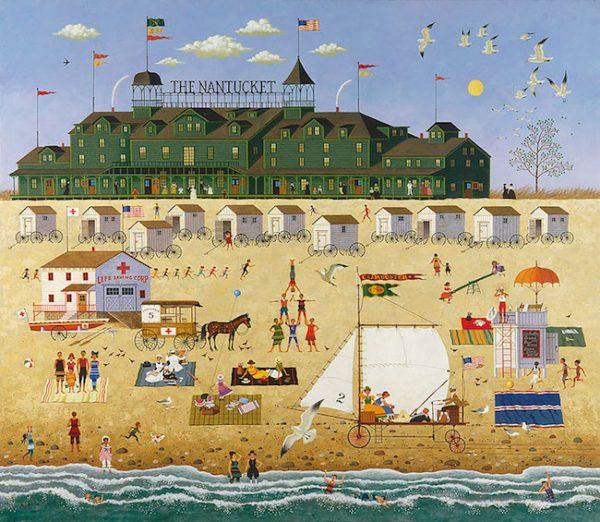 Charles Wysocki - The Nantucket americana folk art print of victorian hotel with people on the beach