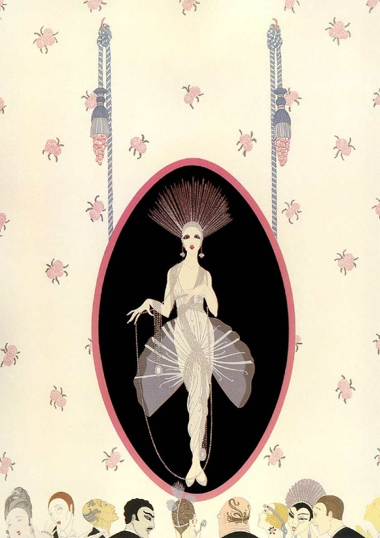 Erte The Portrait Woman in Oval Frame on Wall with Onlookers