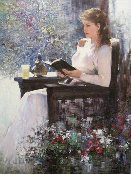 An He Hans Amis - The Reading Chair painting of girl in white dress reading outside