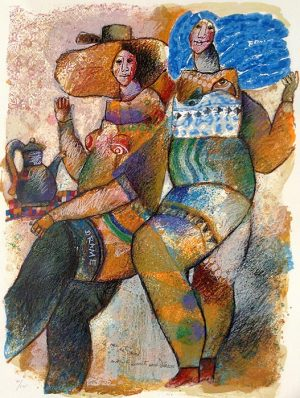 Theo Tobiasse - La Rue est un Monde Ouvert aux Deesses judaica print of two women and a teapot