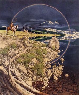 Bev Doolittle - The Sentinel print of native settlement along water with rainbow