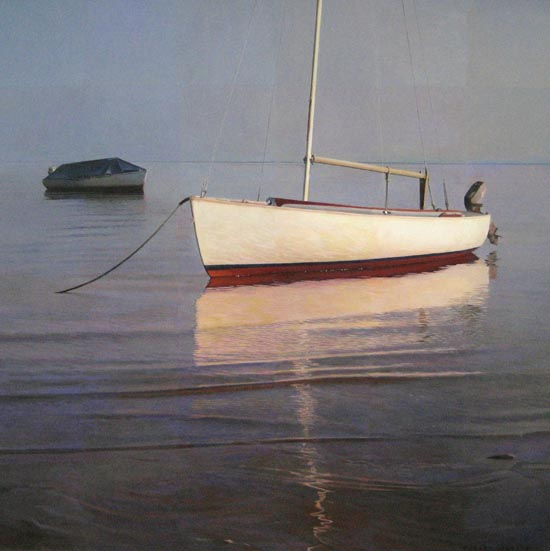 Robert Bolster painting of a red and white sail boat moored in shallow water