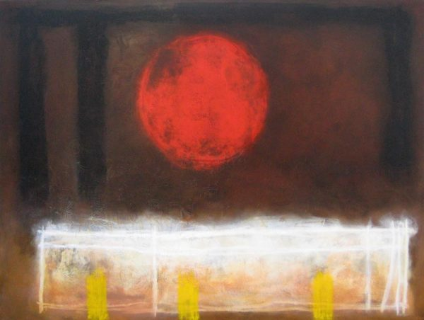 Anthony James Abstract in Brown with Red Orb and Yellow with White