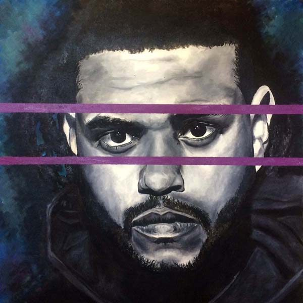 Jack Clifford Oil Portrait Painting of Hip Hop Rapper the Weeknd in Grayscale with Purple Concept