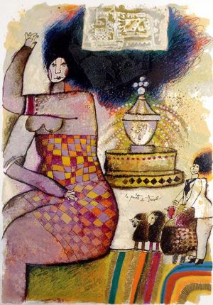 Theo Tobiasse - Le Puits de Jacob judaica print of people, sheep, and fountain