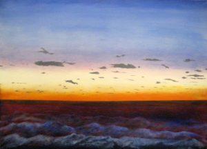 Ken Northup Dramatic Seascape with Dark Navy Ocean and Blue Orange Horizon Sky