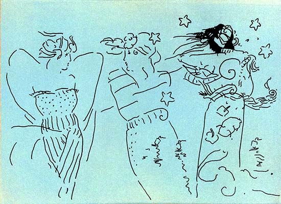 Peter Max - Three Angels print on blue of contour line drawing of female angels with stars