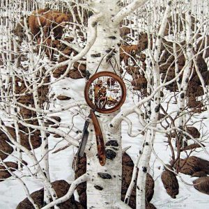 Bev Doolittle - Three More for Breakfast print of bears and mirror with reflection of man among birch trees