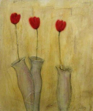 Sophie Hallonquist Three Red Tulips in vases encaustic painting