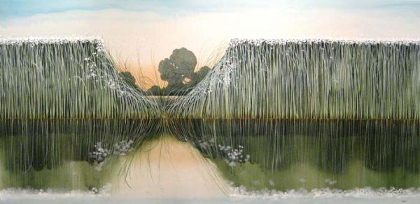 Robert Charon Oil Painting of Reeds in Water Marsh