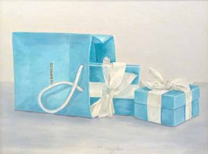 Patti Zeigler Original Oil Painting on Board Tiffany Blue Gift Boxes White Ribbon Shop Jewelry