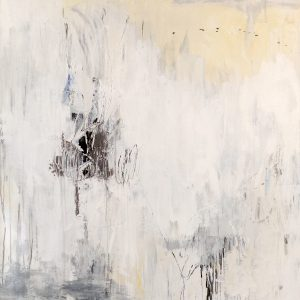 Joshua Schicker Abstract Neutral Oil Painting on Canvas in White Beige Yellow Gray Black