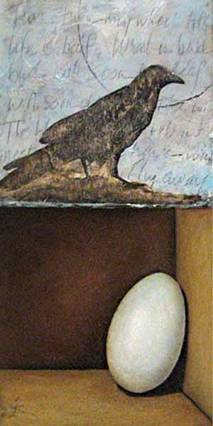 Jeanette Staley - Time II - Painting of a raven and an egg on board