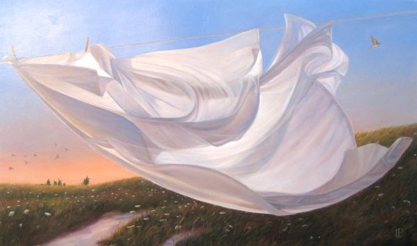 Lorena Pugh Surreal Oil Painting of Sheet on Clothesline in the Country