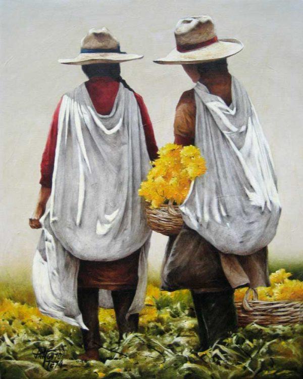 Luis Pantigozo Oil Painting of Two Farmers Harvesting Yellow Flowers