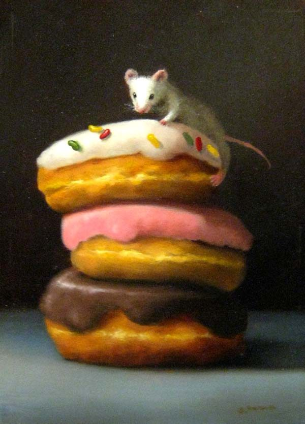 Stuart Dunkel painting of three doughnuts stacked with mouse