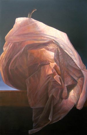 Lorena Pugh oil painting of pear wrapped in paper on table