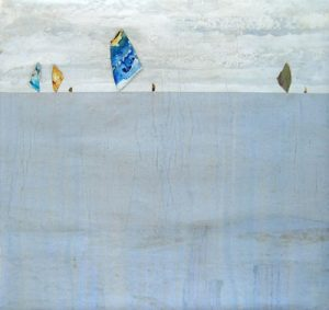Peter Kuttner Painting of Abstract Sailboats on Ocean