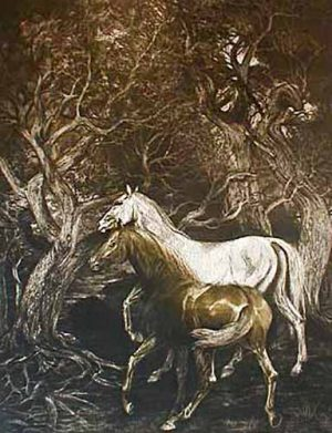 GH Rothe - Traditional Standards print of two horses in woods