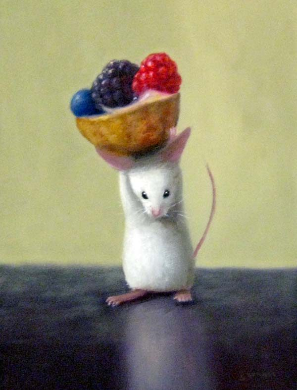 Stuart Dunkel Small Oil Painting of a Mouse Holding a Fruit Tart