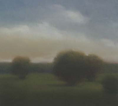 Will Klemm contemporary pastel painting of trees in a field with a cloudy sky