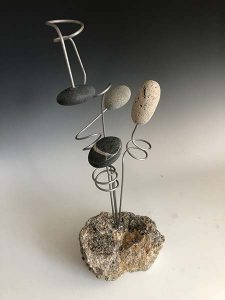 Lev Brown Rousel Mixed Media Stone Sculpture Organic Rock Flower