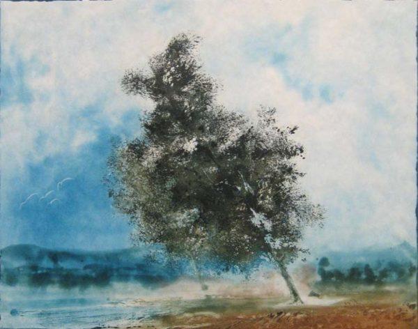 Kaiko Moti - Tree With Birds (16x20 etching on paper)