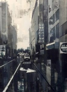 Kevin Kusiolek Contemporary Boston City Scape painting of Tremont St in black and white