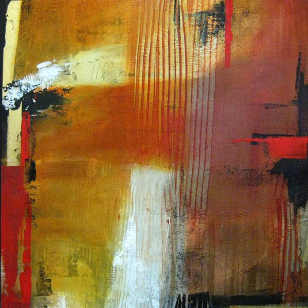 Natasha Barnes Small Abstract Oil on Canvas Triptych in Red