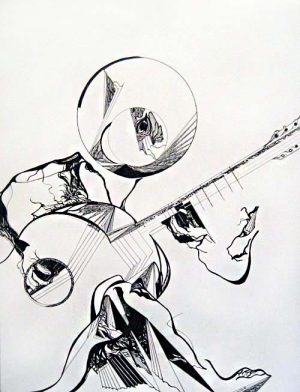 Gary Smith - Turning Flamenco - Abstract drawing of a guitarist