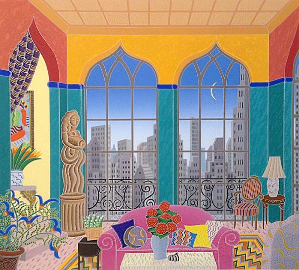 Thomas McKnight - Turtle Bay print of colorful apartment overlooking city and crescent moon