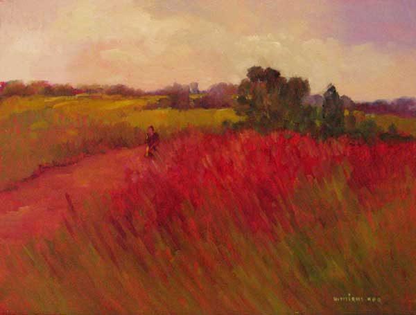 Monique Sakellarios oil painting of european field of poppy flowers in red and purple