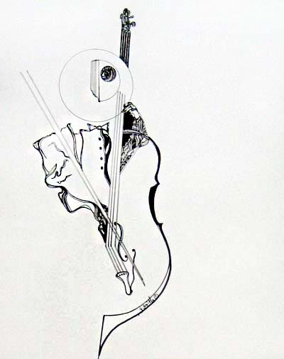 Gary Smith Abstract drawing of a cellist