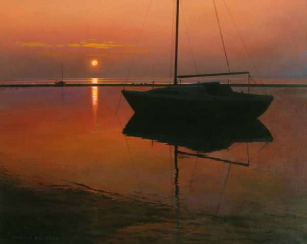 Robert Bolster Traditional Oil Painting of Sail Boat Silhouette at Sunset