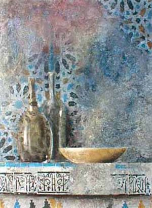 Claudio Missagia painting Two Bottles on Blue background with bowl
