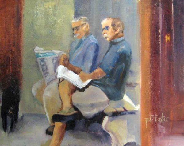 Pat Foster Contemporary Oil Painting of Two Men with Mustaches Reading the Paper