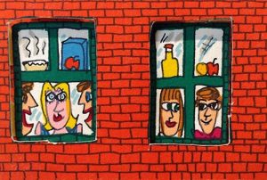 James Rizzi - Two's Company Three's a Crowd print of people through apartment windows