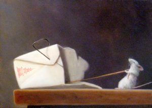 Stuart Dunkel Oil Painting of Mouse Taking Last Chinese Food Lo Mein Noodle from Box