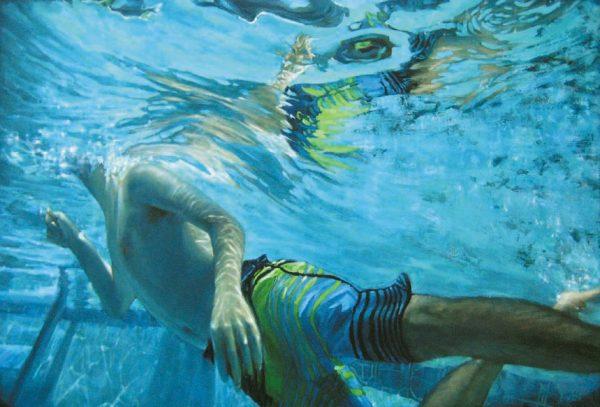 Carol OMalia Carol O'Malia Oil Painting on Canvas of Boy Swimming Underwater of Pool
