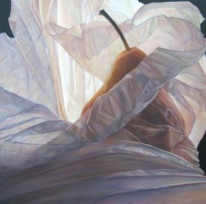 Lorena Pugh oil painting of pear in tissue paper