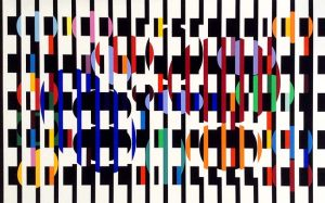 Yaacov Agam abstract lithograph print with black stripes and multiple colors