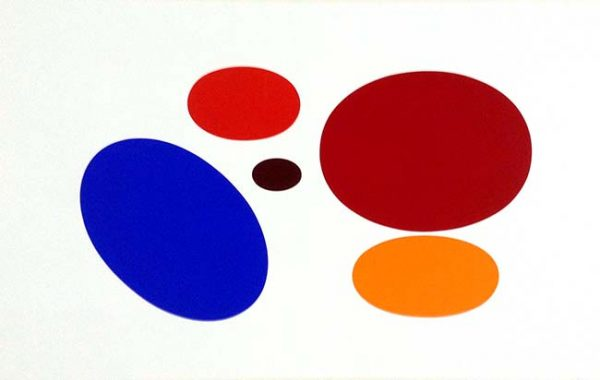 Yaacov Agam abstract lithograph print with 5 red blue and orange oval shapes.