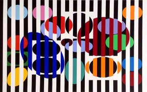Yaacov Agam abstract lithograph print with colorful stripes and ovals