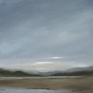 Anne Garton Original Oil Painting on Canvas of Dark Storm Clouded Sky with Green Marsh
