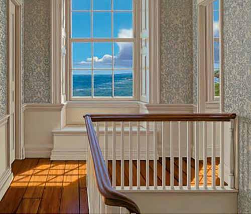 Edward Gordon - Upstairs II print of window at top of stairs overlooking ocean