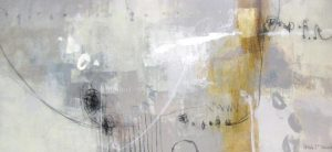 Ursula Brenner Abstract Oil Painting on Canvas with Gold and Silver Foil